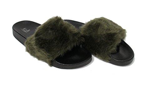 Kali Chaussures Femmes Flip Flop Fausse Fourrure Doux Glissement Plat Pantoufle Limite Olive