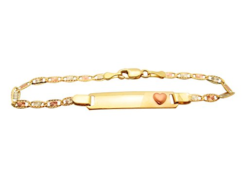 Childrens 14k Gold Id Bracelet - AMZ Jewelry Children's Babies 10k Tri Gold Valentino Link ID Bracelet 5.5 in with Heart