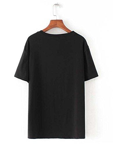 Manches Noir Shirt T Femmes Fat XIAOXAIO Printemps Couleur Courtes 220 Couleur Et New XXXL MM Sequin Shirt kg Grandes 2018 Taille T Zq6Hxxv