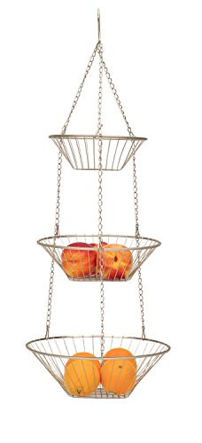 3 Tier Satin Nickel Hanging Vegetable Basket
