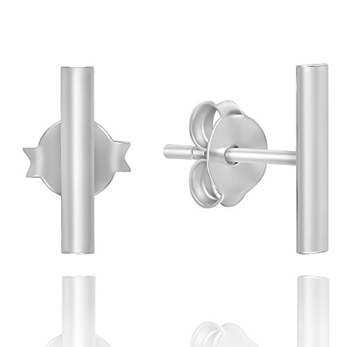 925 Sterling Silver Modern Thin Line Rectangle Minimalist Bar Friction Back Stud Earrings, 1.5x10mm ()