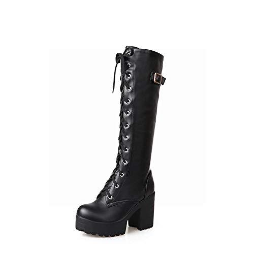 Botas Alto Mujer Antideslizantes De Moda invierno Otoño Negro Calientes Xdx Tacón Retro 43 36 RaIdwWq