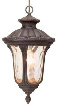 Livex Lighting 7654-58 Oxford 1 Light Imperial Bronze Cast Aluminum Hanging Lantern with Light Amber Water Glass