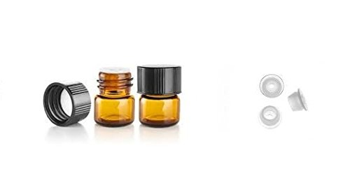 1/4 Dram AMBER Glass Vial - Screw Cap w/ Orifice Reducer - Pack of 24