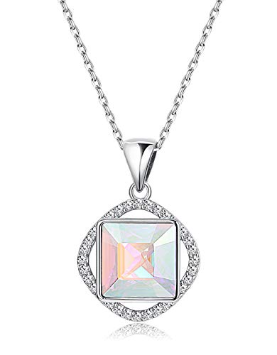 - KesaPlan Square Crystal Halo Pendant Necklace for Women Classic Jewelry, Made with Swarovski Crystal with Platinum Plated Chain