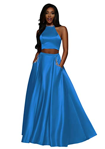 Now and Forever Two Piece Prom Dresses Long for Women Formal Bridesmaid Gown with Beaded Pockets (Blue,2)