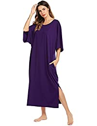 f202a16f5 Nightgown, Womens Round Neck/V Neck Loungewear Oversized Pajama Loose  Pockets Long Sleep Dress