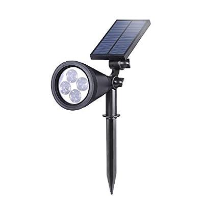 EREMOKI Solar Landscape Spotlights, Red Light 2-in-1 Waterproof Adjustable 4 LED Wall/Landscape Solar Lights with Automatic On/Off Sensor for Driveway,Yard, Lawn, Pathway, Garden
