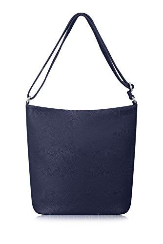 Montte Di Jinne - | 100% Soft Italian Leather | Slouchy Bucket Bag| Shoulder | Cross Body | Luxury Gift for Women| Navy