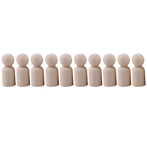Peg Boy (UNKE 10 Pcs Natural Unpainted Small Wooden Peg Doll Bodies for DIY Arts and Crafts Painting Carving,Boy,35mm)