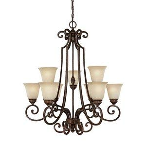Capital Lighting 3589CB-287 Chandelier with Mist Scavo Glass Shades, Chesterfield Brown - Glass Mist Scavo