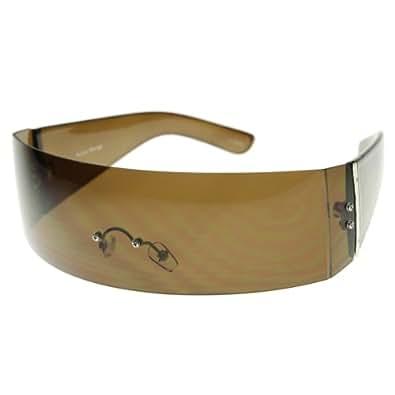 zeroUV - Designer Inspired Monoblock Full Shield Fashion Sunglasses (Brown)