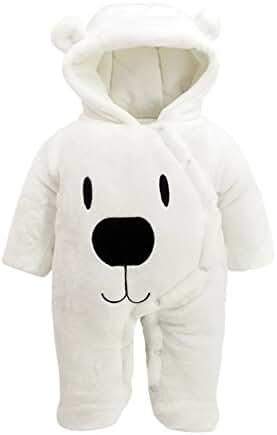 Toddler Warm Jumpsuit Thick Cotton Winter Hoodie Romper