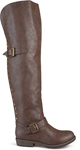 (Brinley Co Women's Sugar Over The Knee Boot, Brown, 10 Regular US)