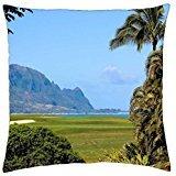 Princeville Golf - Princeville Ocean View Golf Course overlooking beach and cliffs Kauai Hawaii - Throw Pillow Cover Case (18