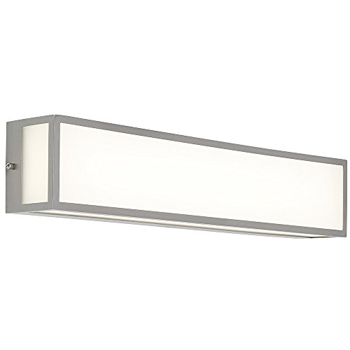 NEW Modern Vanity Light | Frosted LED Brushed Nickel Wall Mounted Lighting | Vertical or Horizontal Box Light | 3000K Warm White 25'' by Hamilton Hills