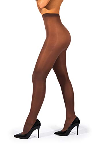 sofsy Opaque Microfibre Tights for Women - Invisibly Reinforced Opaque Brief Pantyhose 40Den [Made In Italy] Chocolate 5 - X-Large