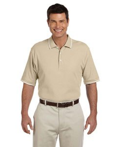 Devon & Jones Mens Pima Pique Short-Sleeve Tipped Polo (D113) -Stone/Whit -XL - White Tipped Pique Sport Shirt