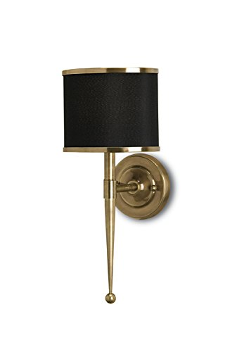 Currey and Company 5021 Primo 1-Light Wall Sconce, Antique Brass Finish with Black Shade with Brass Trim