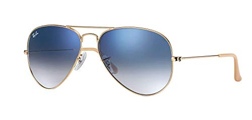Ray Ban RB3025 001/3F 55M Gold/Light Blue Gradient Aviator ()