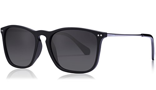 Carfia Vintage Polarized Sunglasses for Men, 100% UV400 Protection (Grey (Uv400 Protection)