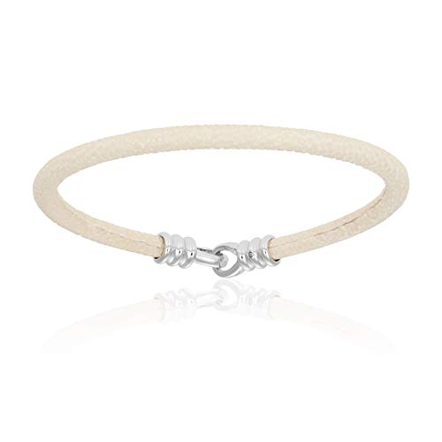 Double Bone Single Stingray Bracelet. Genuine Leather Bangle with Silver Clasp for Men and Women (White, 20)