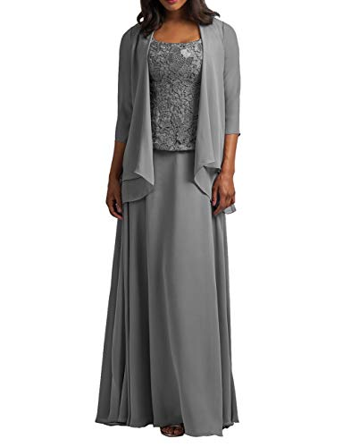 Chiffon Mother of The Bride Dress with Jacket Lace Prom Dress Formal Evening Gowns Long Plus Size Steel Grey US 28W
