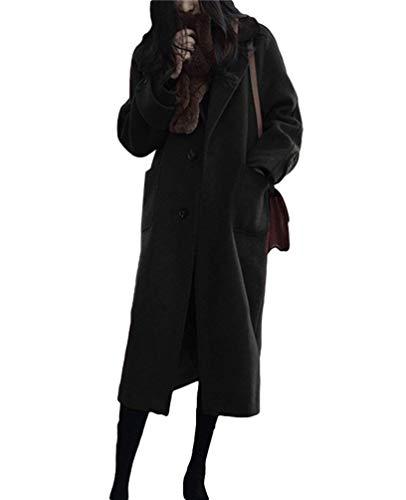 Largos Larga Elegante Unicolor Casuales Solo Parkas Outerwear Schwarz Mujer Lana Hipster Casual Battercake De Anchas Pecho Termica Manga Espesor Invierno Solapa Abrigo Mujeres Un nZ08IOwx