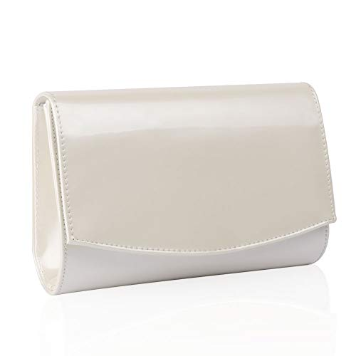 Women Leather Fashion Clutch Purses,WALLYN'S Evening Bag Handbag Solid Color (Natural)