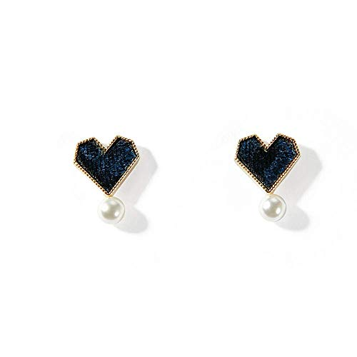 (Kin Stud Earrings for WomenKore Mini Heart-Shaped EarringsTemperament Earrings GirlsImitation Pearl EarringsSimple Small Fresh Earrings (Color : Navy Blue))