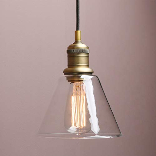 1-Light Vintage Edison Hanging Pendant Light, Yosoan Mini Funnel Flared Glass Clear Glass Shade for Kitchen Bathroom Porch Living Room Dinning Room Office Restaurants Hotels Bar -