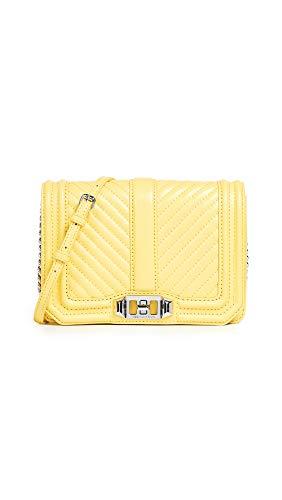 Rebecca Minkoff Women's Chevron Quilted Small Love Crossbody Bag, Capri Yellow, One Size