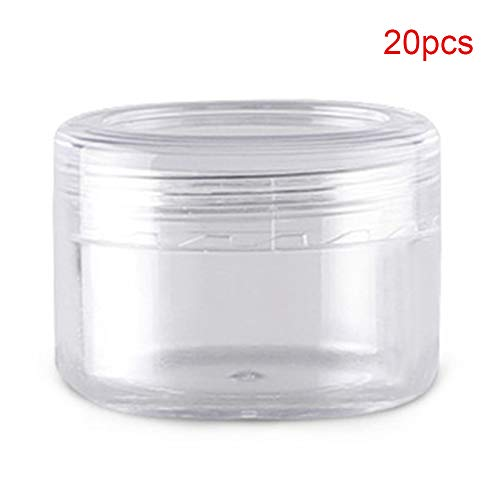 20pcs/ 35pcs Empty Refillable Clear Plastic Travel Cosmetic Cream bottle Jars with Screw Lid For Cosmetic Sample Packing Makeup Face Cream Eye Cream Facial Mask Ointment(20pcs-15g) (E45 Cream For Dry Skin On Face)