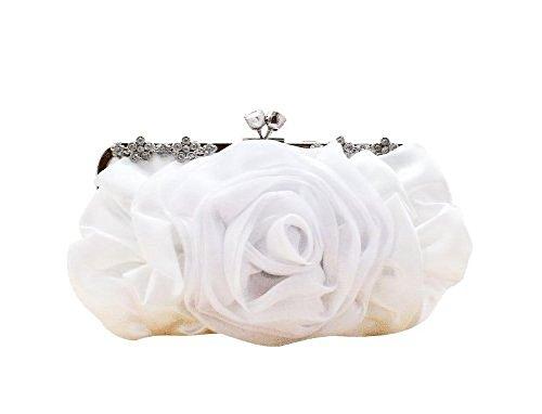 Elegant Sequined Satin Rose Rhinestone Handbag Evening Party Wedding Bag Clutch Purese for Women