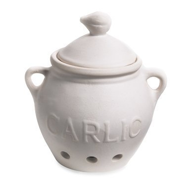 """HIC Harold Import Co. Garlic Clove Keeper White Vented Ceramic Storage Container With Lid, 5.25"""" x 5.5""""/16 oz"""