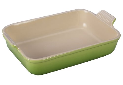 Le Creuset Heritage Stoneware 12-by-9-Inch Rectangular Dish, Palm