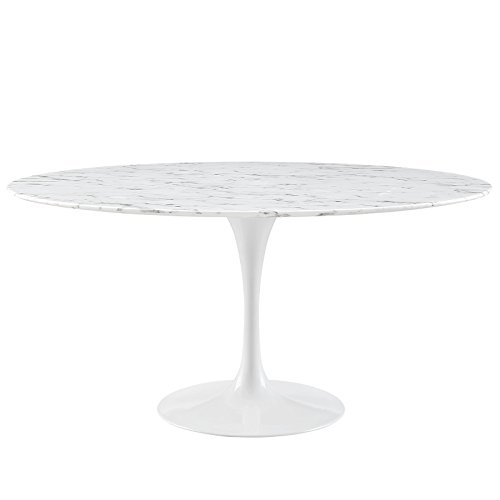 """Modway EEI-1133-WHI Lippa Mid-Century Modern 60"""" Oval Artificial Marble Dining Table, Round, White Base"""