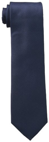 Navy Blue Silk Necktie (Calvin Klein Men's Silver Spun Solid Tie, Navy, Regular)