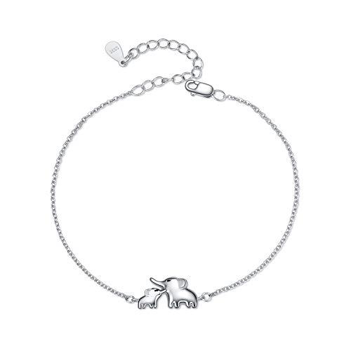 YFN Mom Baby Elephant Ankle Chain Bracelet 9 Inch for Women Girls Mom