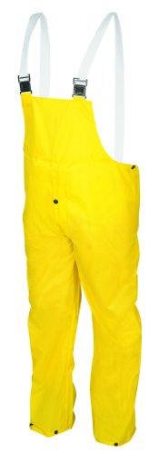 MCR Safety 550BPL Navigator Nylon/Polyurethane Bib Overall with White Elastic Adjustable Suspenders, Yellow, Large - Mcr Safety Navigator