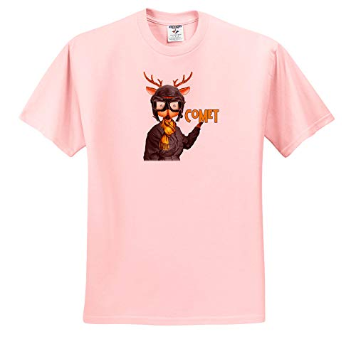 Doreen Erhardt Christmas Collection - Comet The Aviator Reindeer in a Flight Suit Funny Christmas - T-Shirts - Toddler Light-Pink-T-Shirt (3T) (ts_290906_48)