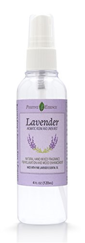 Positive Essence Lavender Linen and Room Spray, Natural Aromatic Mist Made with Pure Lavender Essential Oil, Relax Your Body & Mind, Perfect as a Bathroom Spray Air Freshener Pillow Mist Aura Cacia Relaxing Lavender