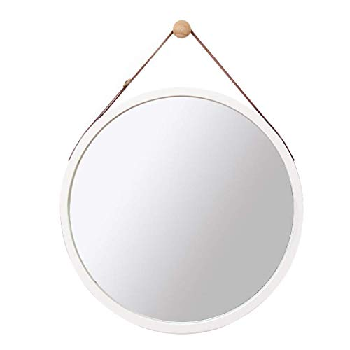 Sciever- Wall-Mounted Round Mirror, with Adjustable Faux Leather Hanging Strap - Bamboo Framed Bathroom Vanity Mirrors - Wall Hanging Decorative Mirror