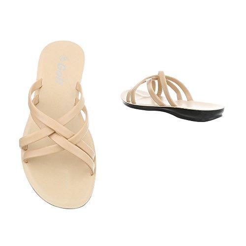 de Sandalias Design Para Beige Plano Vestir Ital Mujer Zuecos Zapatos CZXwcnqa