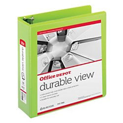Recycled View Binder Letter (Office Depot(R) Brand Durable D-Ring View Binder, 3in. Rings, Letter Size, 60% Recycled, Green)
