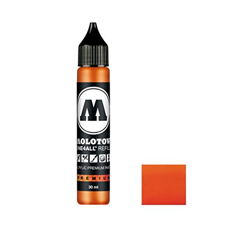 Molotow ONE4ALL Acrylic Paint Refill, For Molotow ONE4ALL Paint Marker, DARE Orange, 30ml Bottle, 1 Each (693.085)