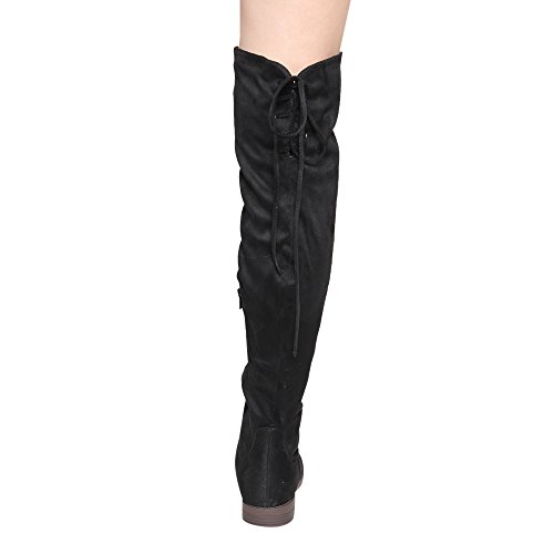 Chase & Chloe Maggy-1 Womens Thigh High Drawstring Low Chunky Heel Boots Black Suede UceQt0j52