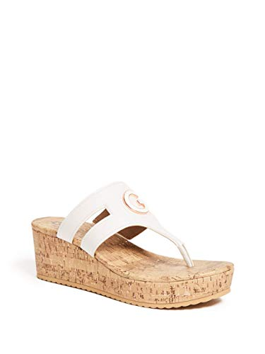 G by GUESS Women's Gandy Cork Wedge Flip-Flops White