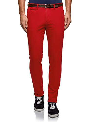 Oodji Rouge Homme Ceinture En Pantalon Avec 4500n Coton Ultra rfqH0r