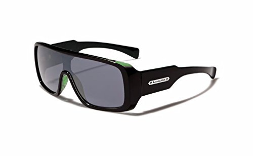 ld Mens Futuristic Goggle Style Designer Celebrity Sunglasses, Green/Black, Smoke ()